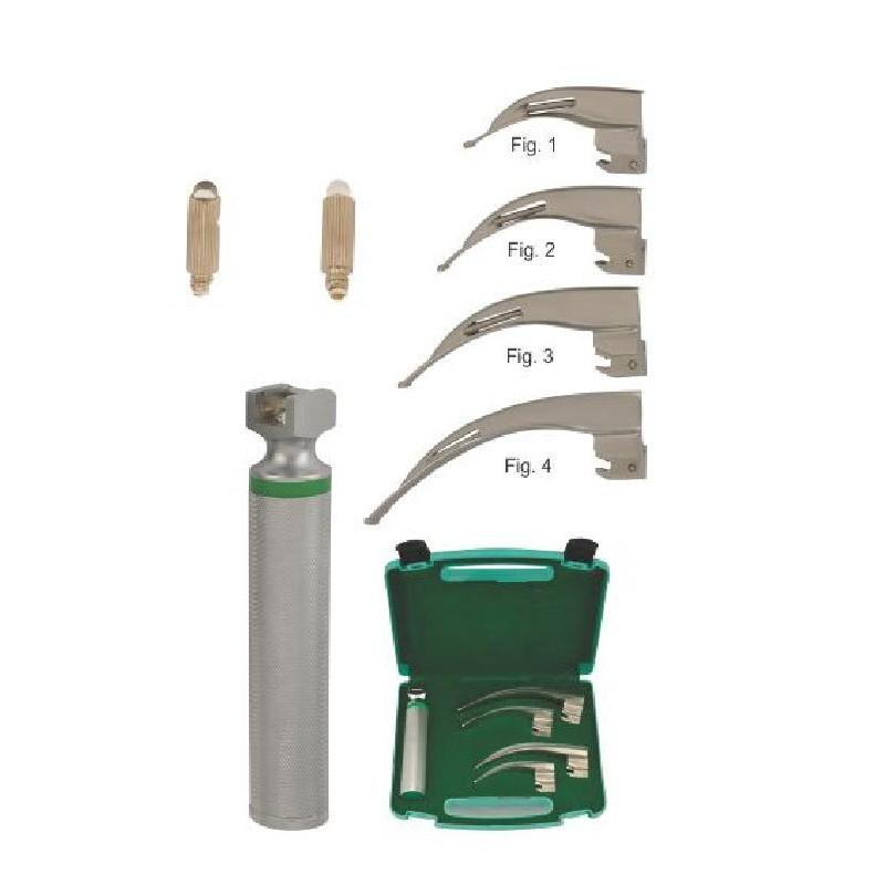 MC-INTOSH LARYNGOSCOPE SET OF FIBER OPTIC HALOGEN ILLUMINATION